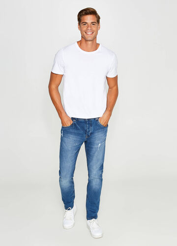 Jeans loose fit stretch used con strappi