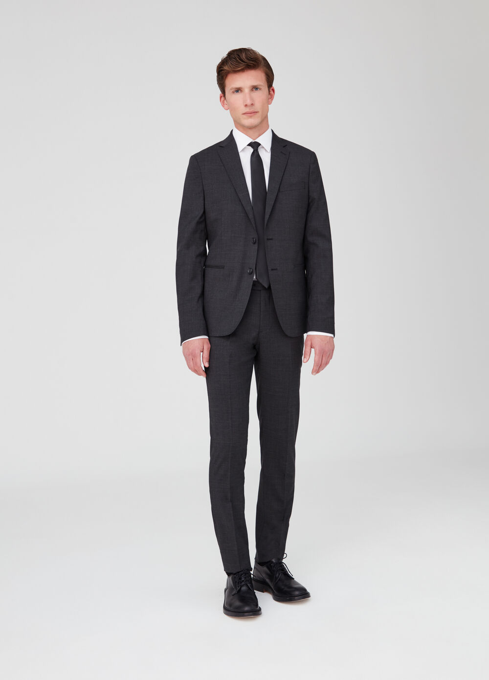 Slim-fit stretch suit with two-button jacket and trousers