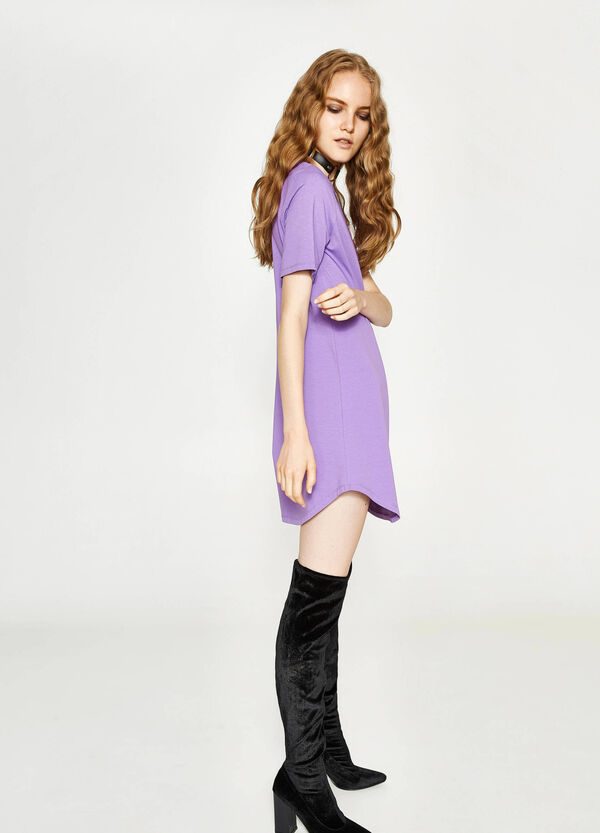 Dress in cotton with short sleeves
