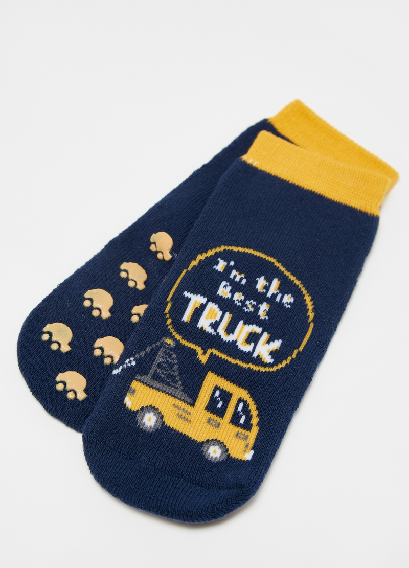 Two-pair pack slipper socks with cars print image number null