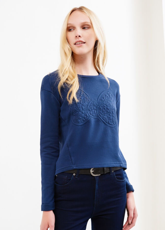Crop cotton sweatshirt with embroidery