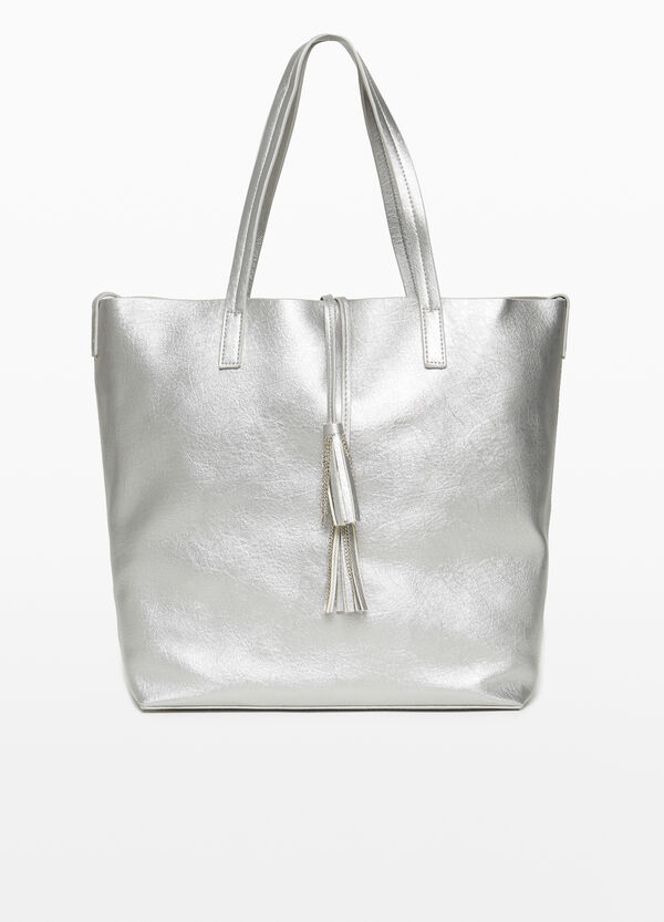 Textured shopping bag with tassels