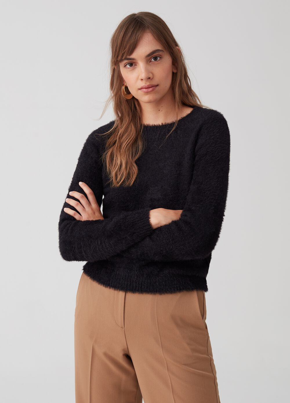 Knitted flocked-effect pullover