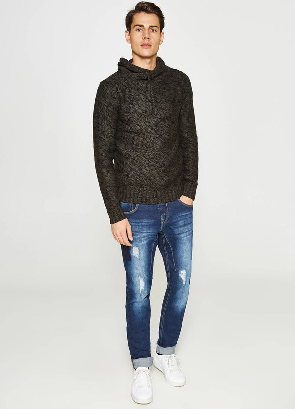 Mélange pullover with high neck