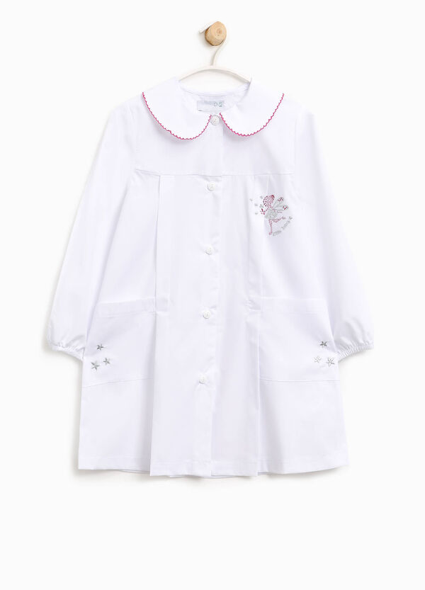 Embroidered cotton smock with diamantés | OVS