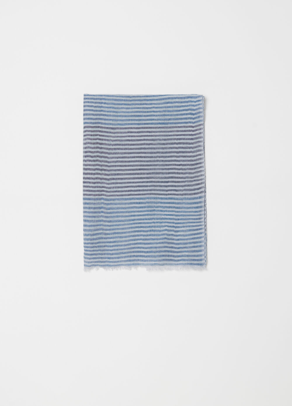 Yarn-dyed scarf with striped fringed hem