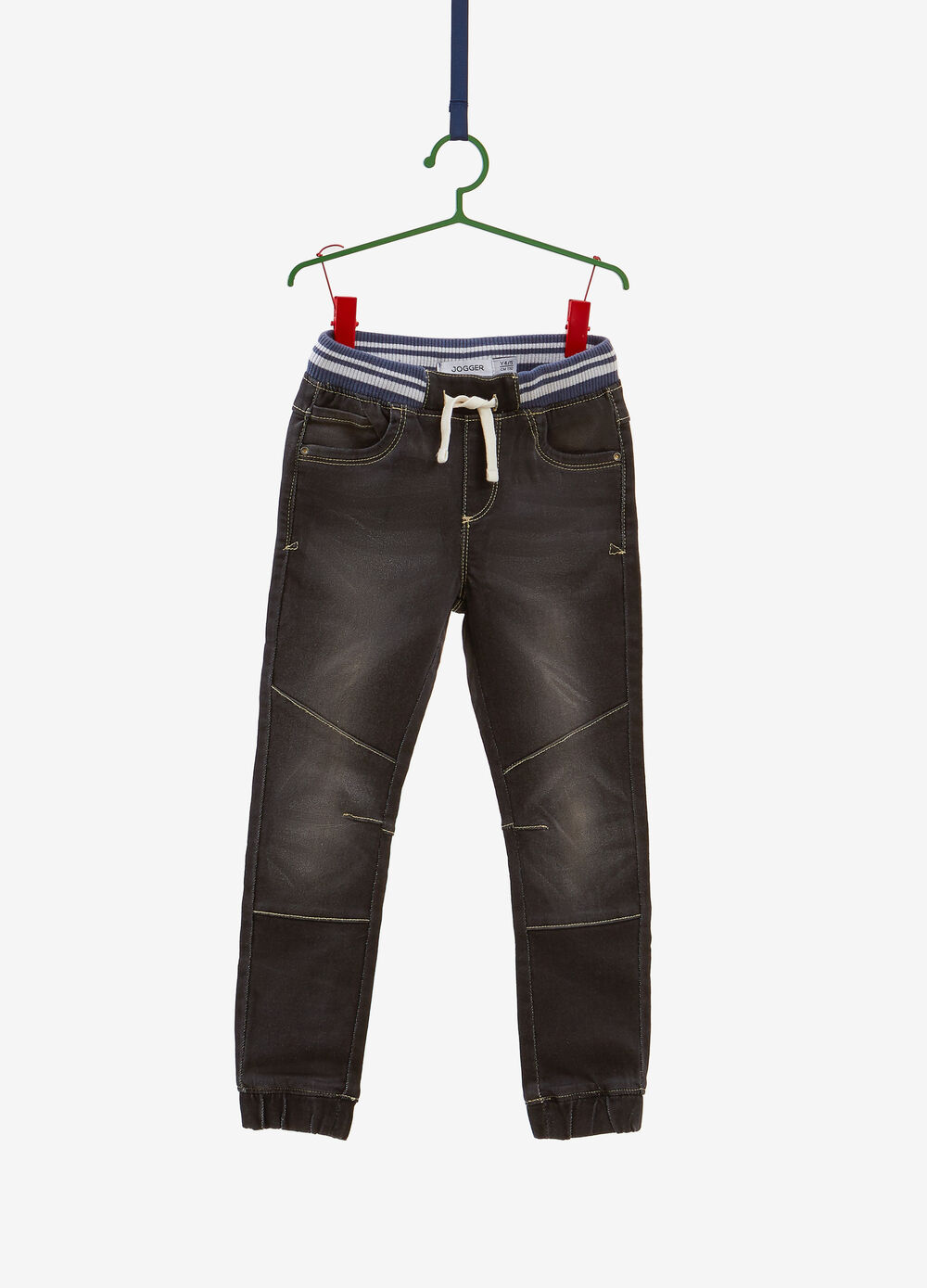 Worn-effect, jogger-fit stretch jeans with drawstring