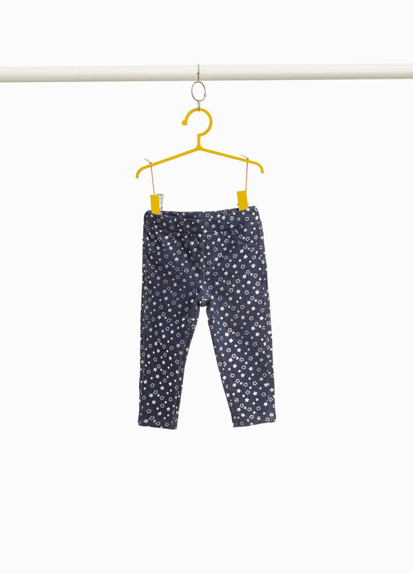 Stretch jeggings with shiny star pattern