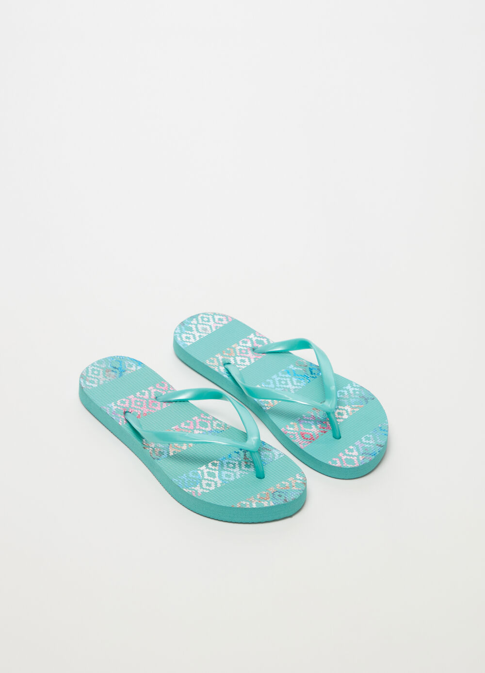Thong sandals with glitter sole and flat heel