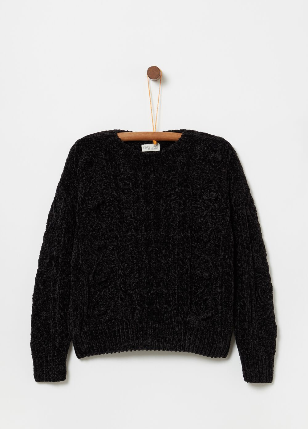 Knitted chenille top with ribbing