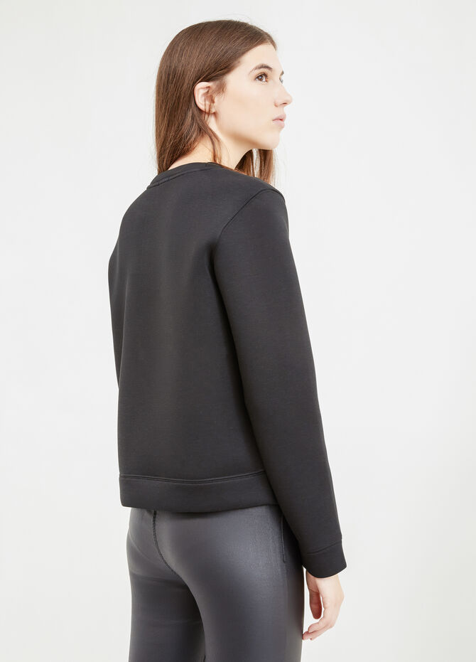 Stretch viscose sweatshirt with embroidery and patches