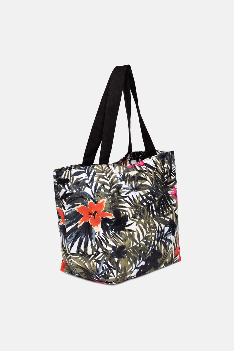 Flower-patterned beach bag image number null