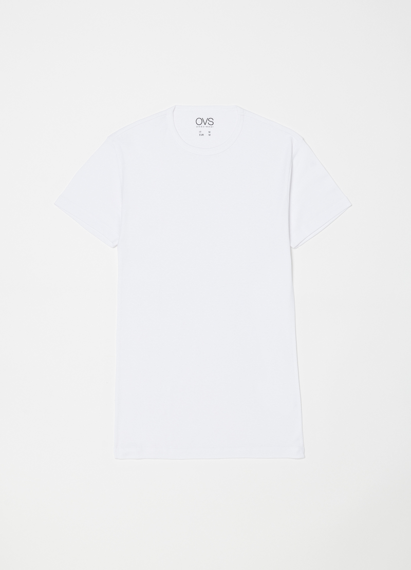 Set due t-shirt puro cotone con costina image number null