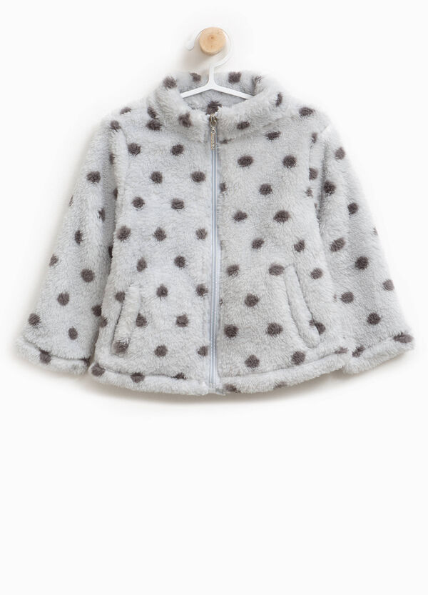 Faux fur polka dot sweatshirt with zip