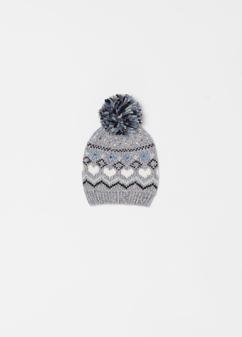 Solid colour mélange knitted hat with pompom