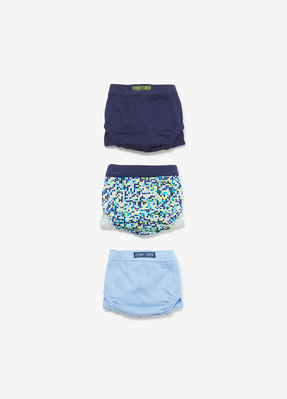 Three-pack 100% cotton solid colour and polka dot briefs