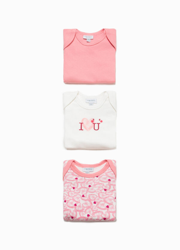 Three-pack 100% cotton printed and heart bodysuits | OVS
