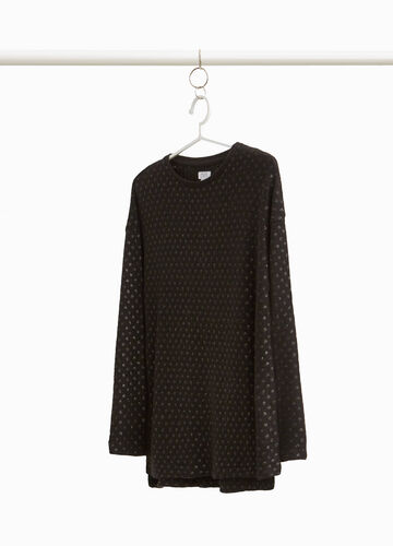 Pullover with glitter polka dot pattern