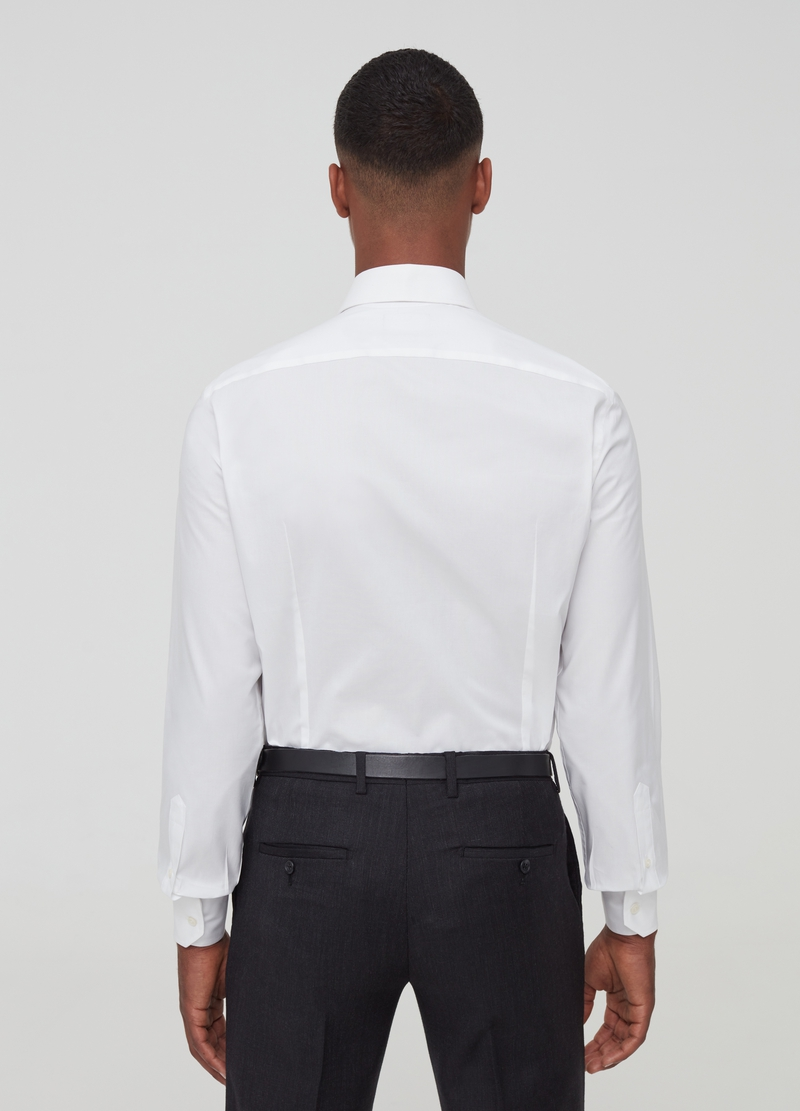 Solid colour slim-fit shirt with cutaway collar image number null