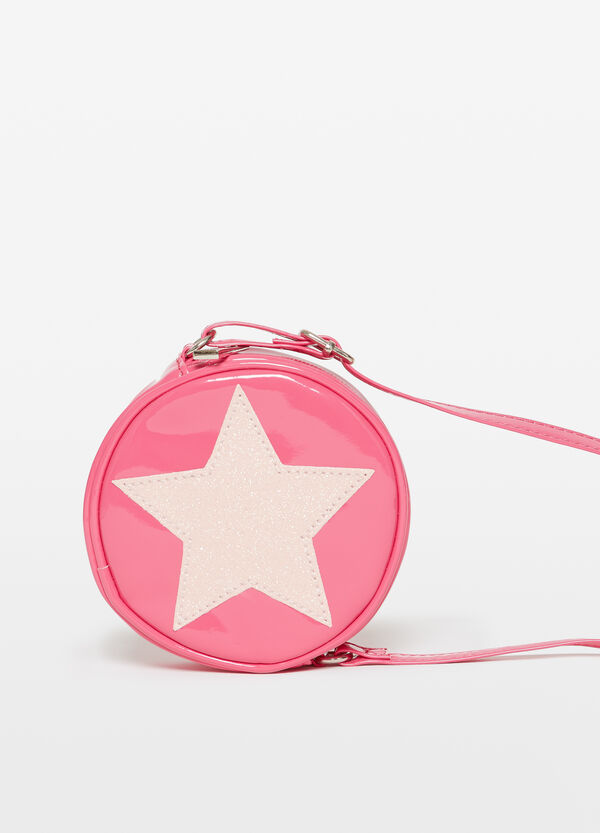 Shoulder bag with glitter star patch