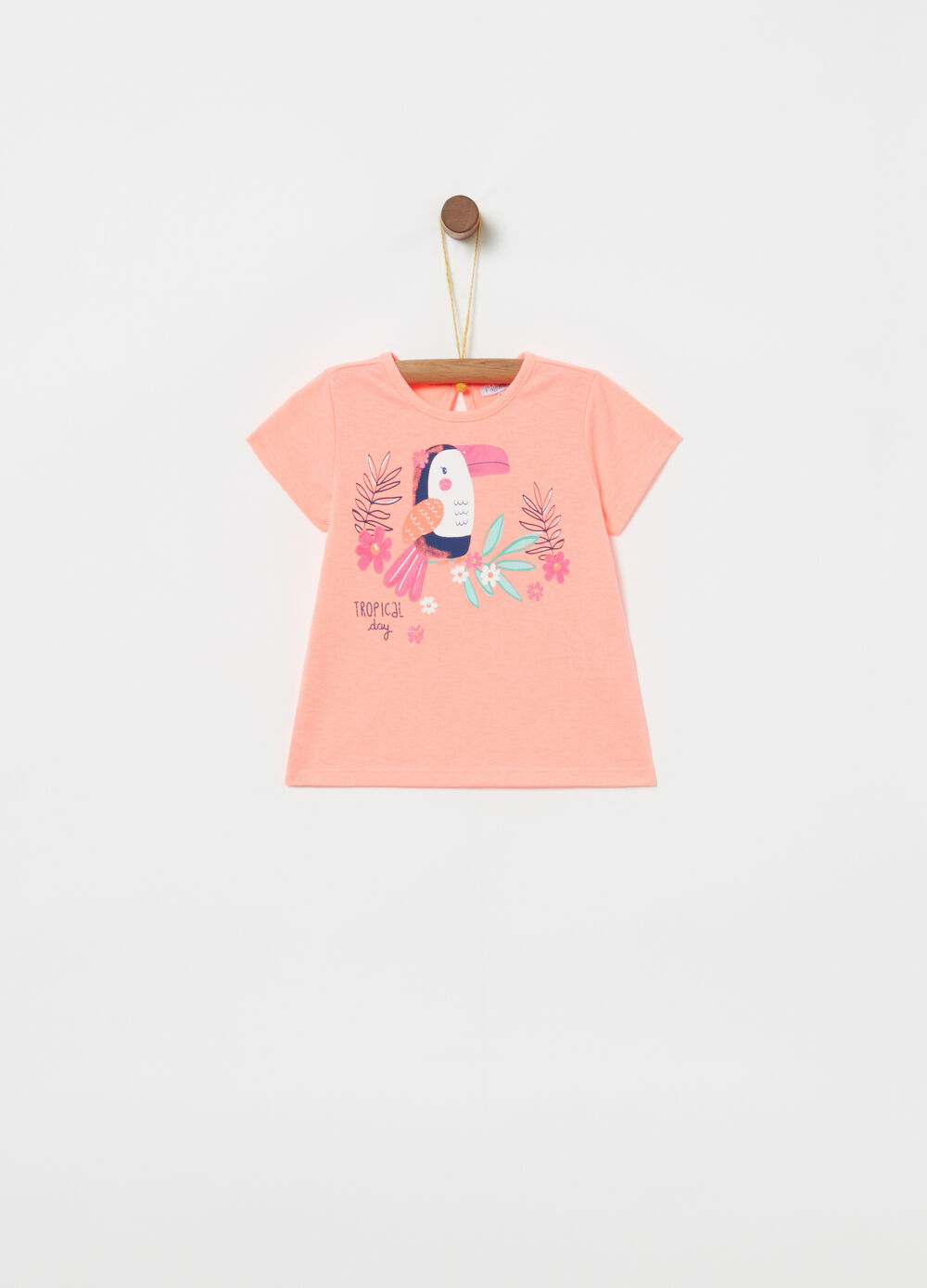 Cotton blend T-shirt with toucan print