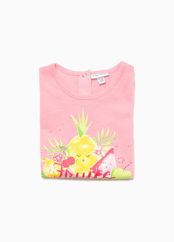 Fruit and lettering print cotton sleep suit