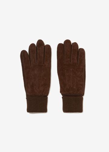 Genuine leather gloves with stitching