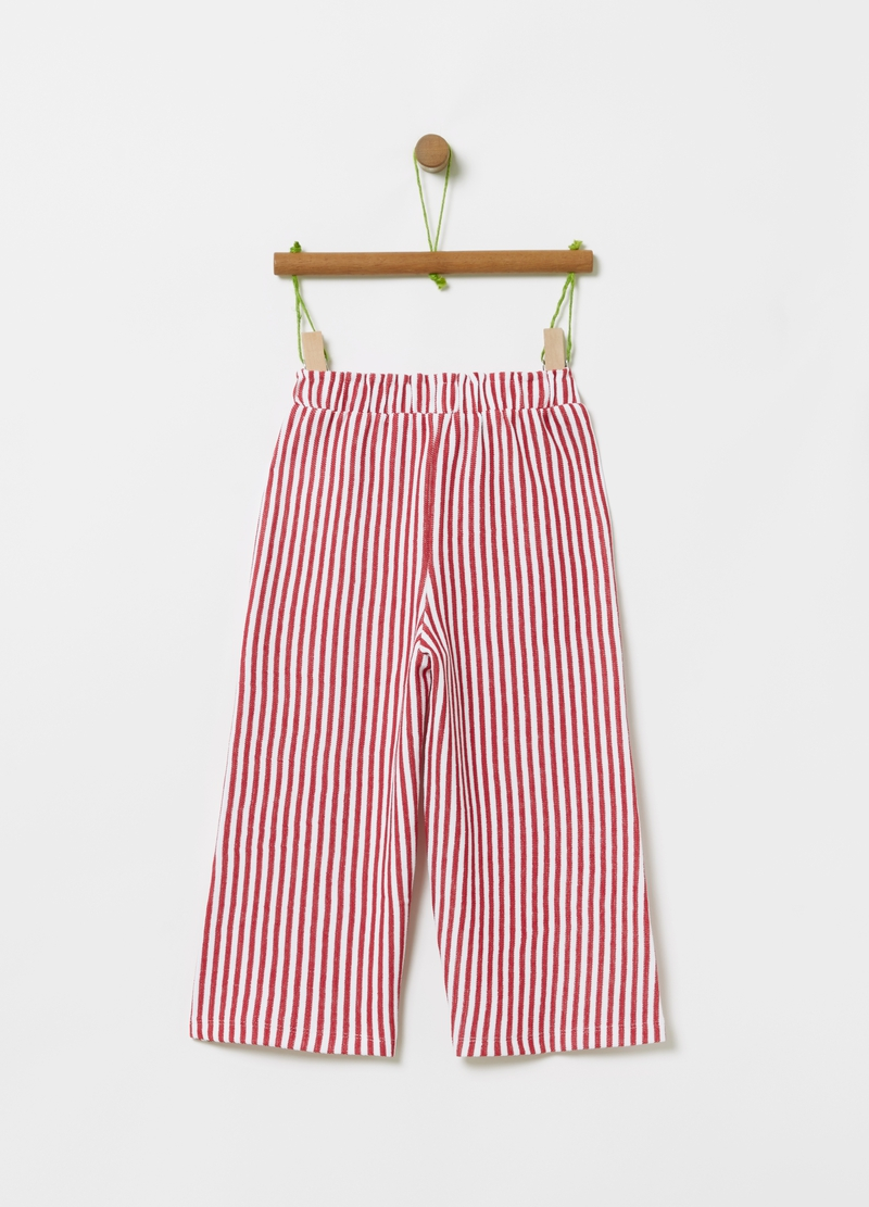 Trousers with striped drawstring image number null