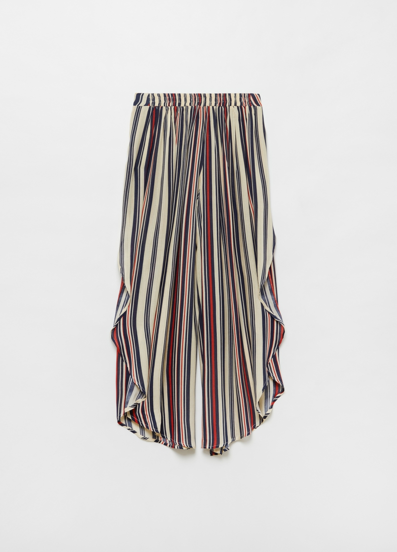 Striped beach trousers in 100% viscose image number null