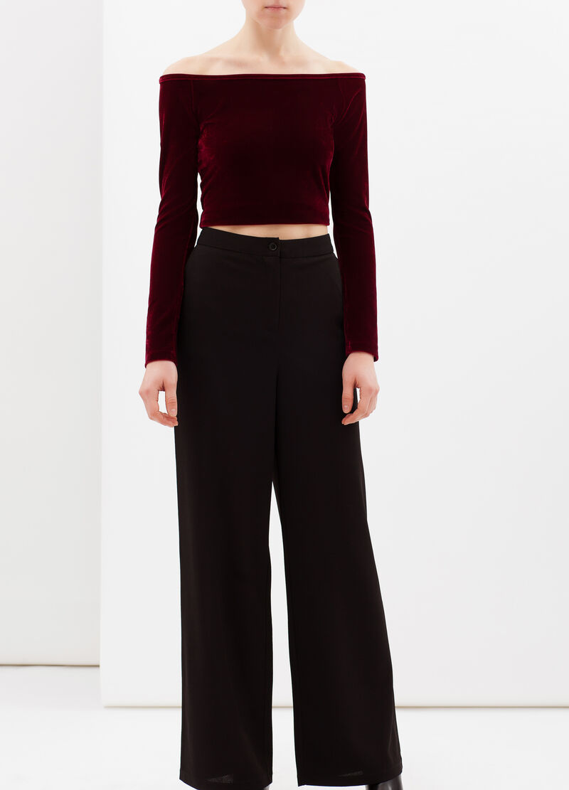 Stretch trousers with wide leg