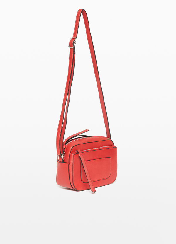Textured shoulder bag with zip