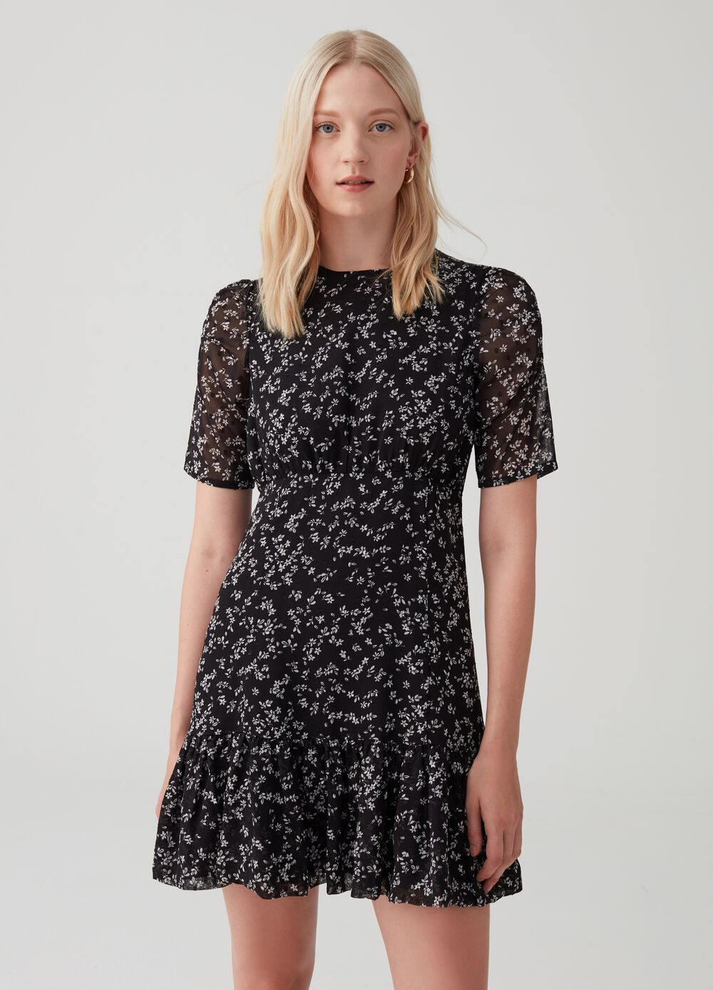 Floral patterned dress with zip