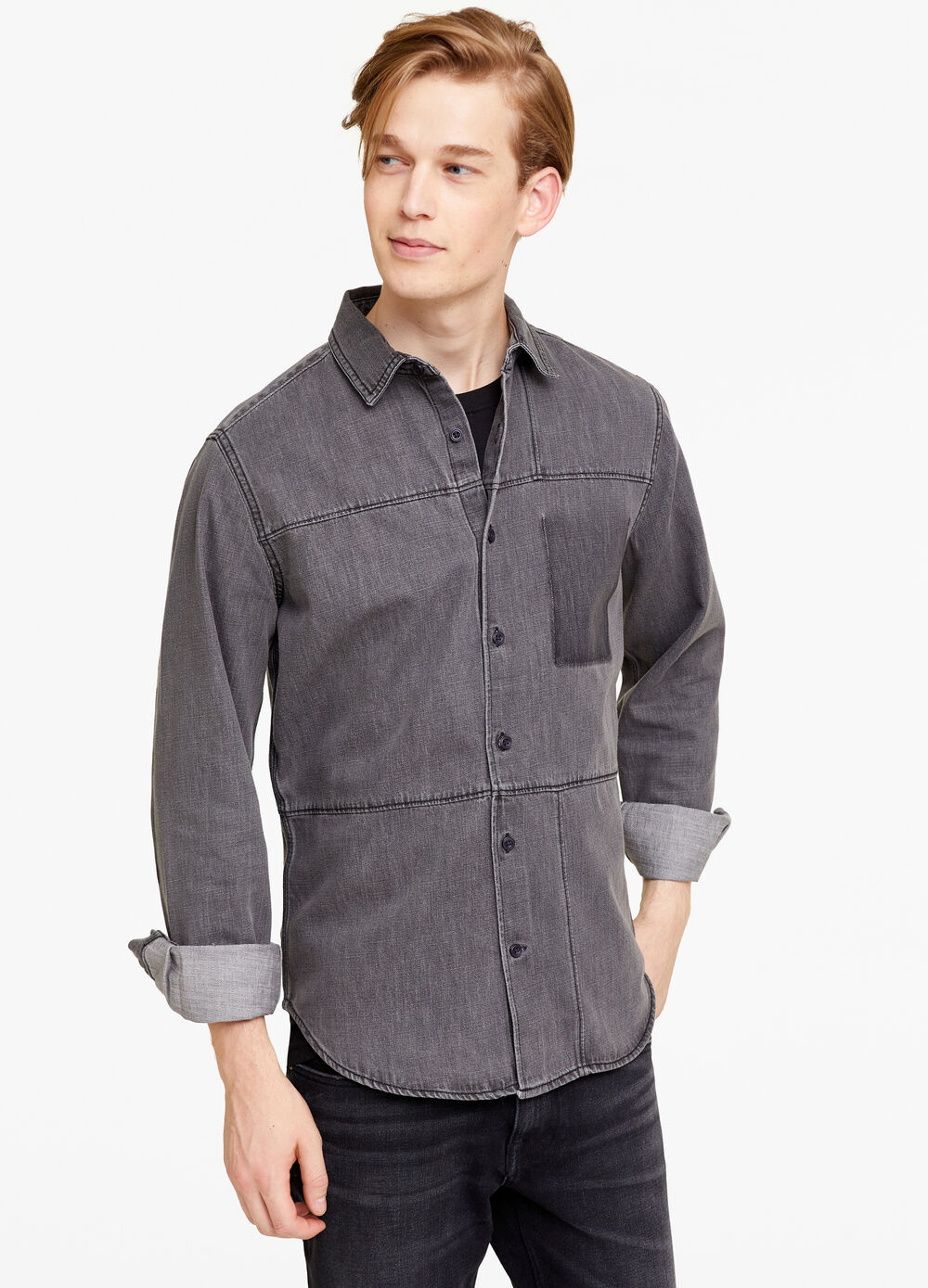 Slim-fit casual denim shirt