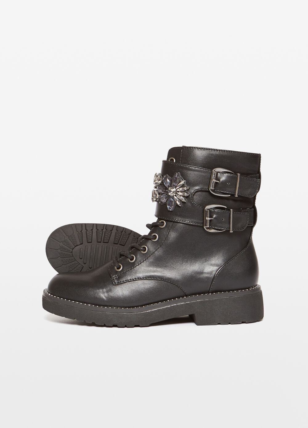 Field boots with diamantés