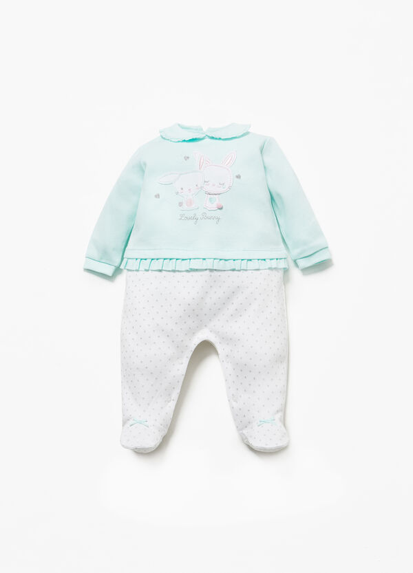 Cotton onesie with rabbit patches and polka dots