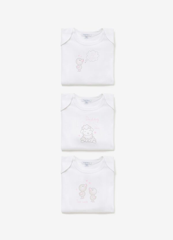 Three-pack cotton bodysuits with animals