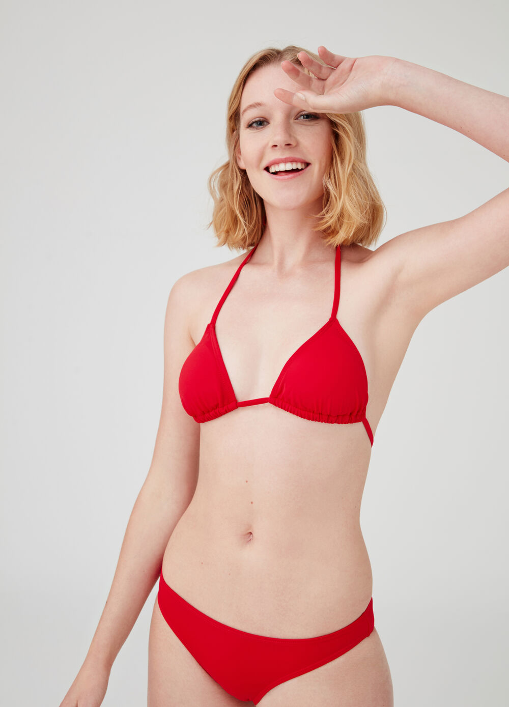 Stretch triangle bikini with ties