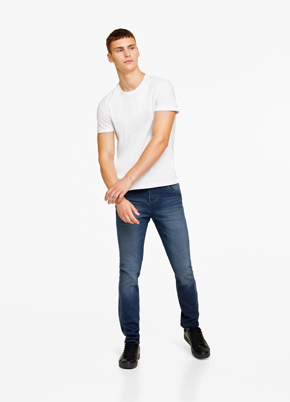 Skinny-fit jeans with buttons