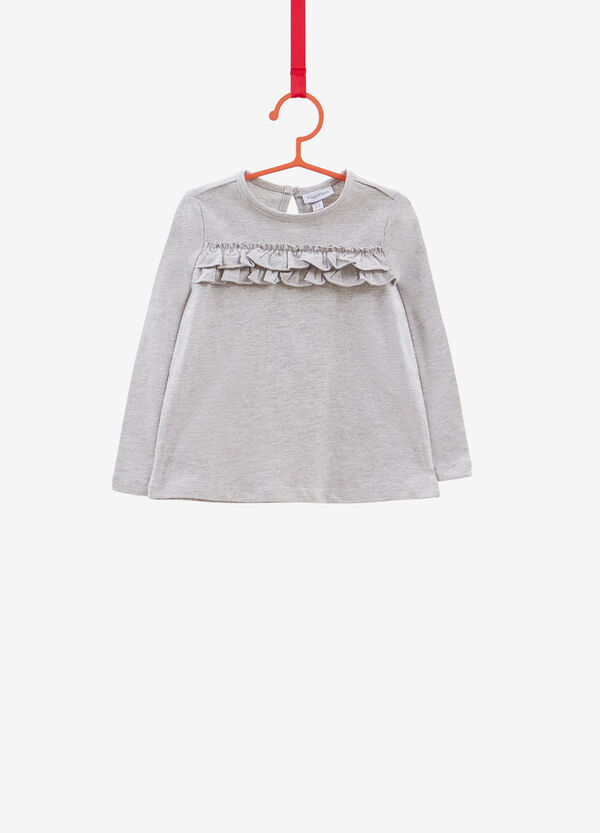 Cotton blend T-shirt with flounce