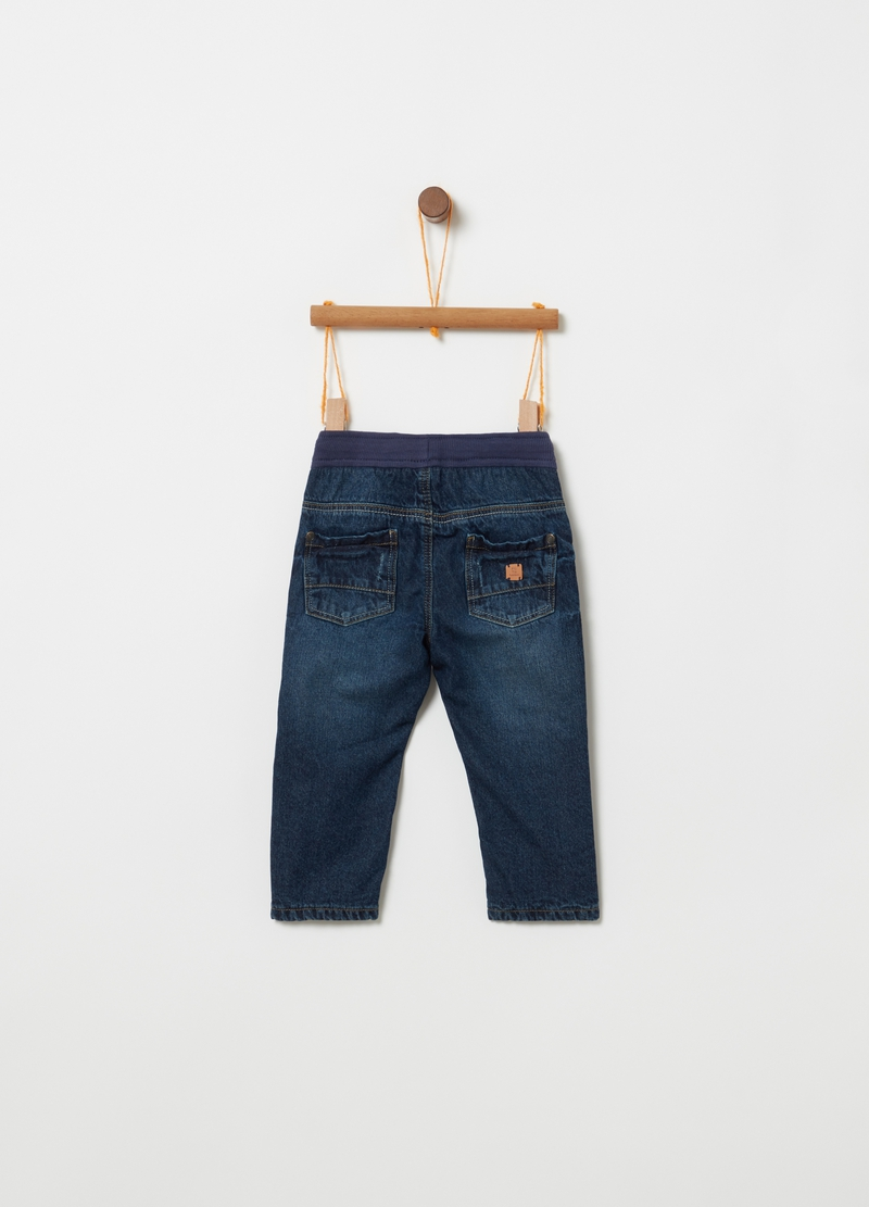Regular-fit lined jeans with drawstring image number null