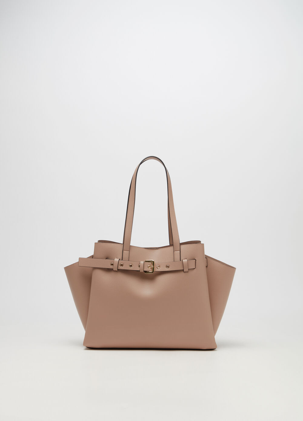 Leather-look shoulder tote bag with three compartments