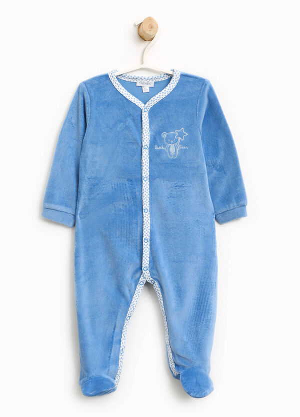 Velour sleepsuit with embroidery | OVS