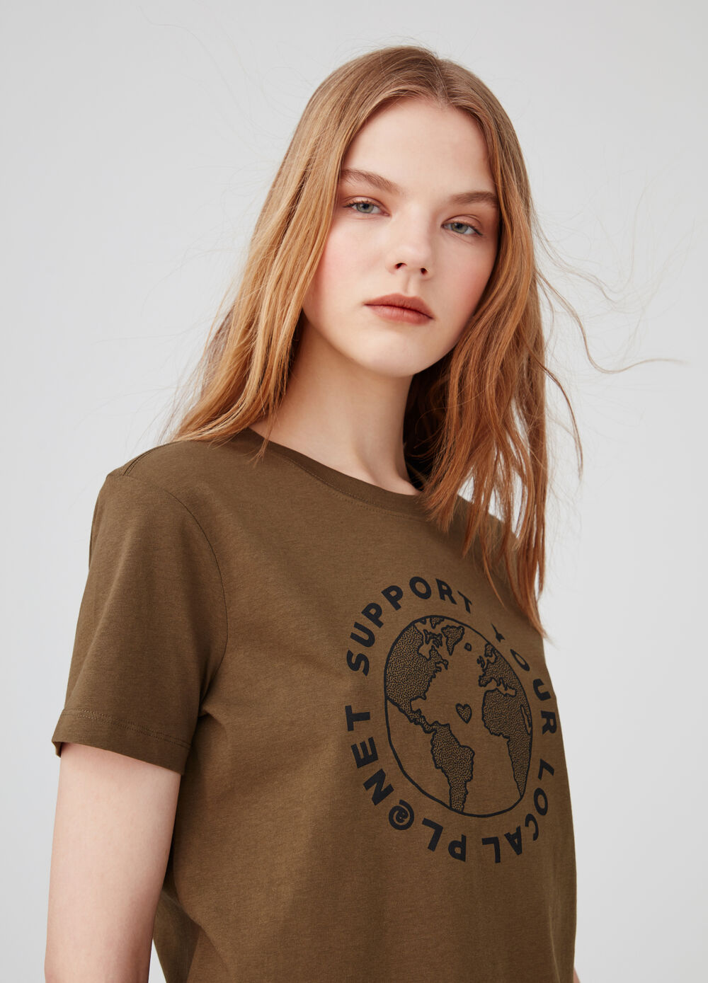 T-shirt biocotton stampa Earth Day