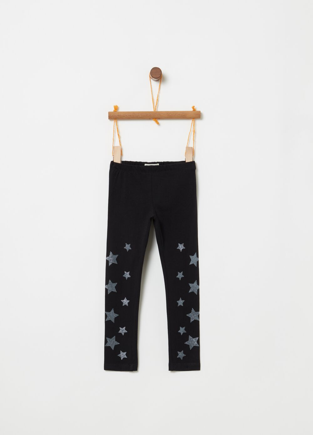 Leggings in cotone stretch stelle glitter