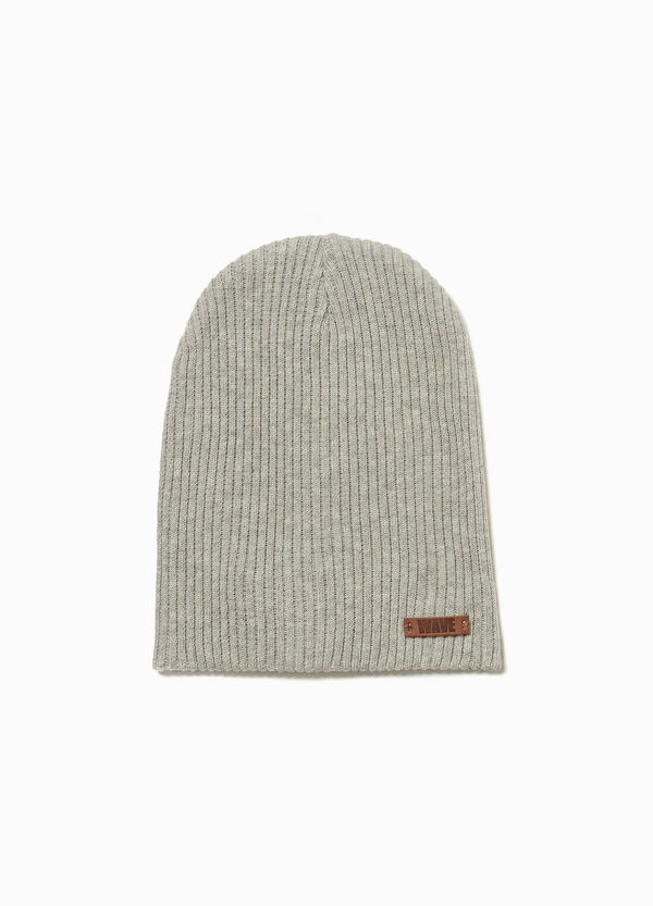 Cappello a cuffia a costine con patch
