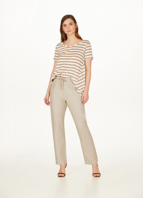 100% linen trousers with drawstring