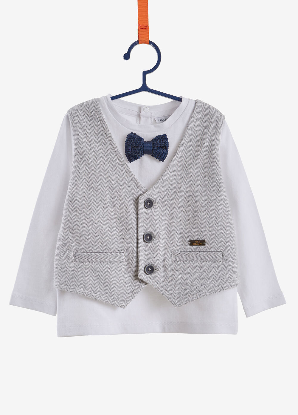 100% cotton T-shirt with gilet