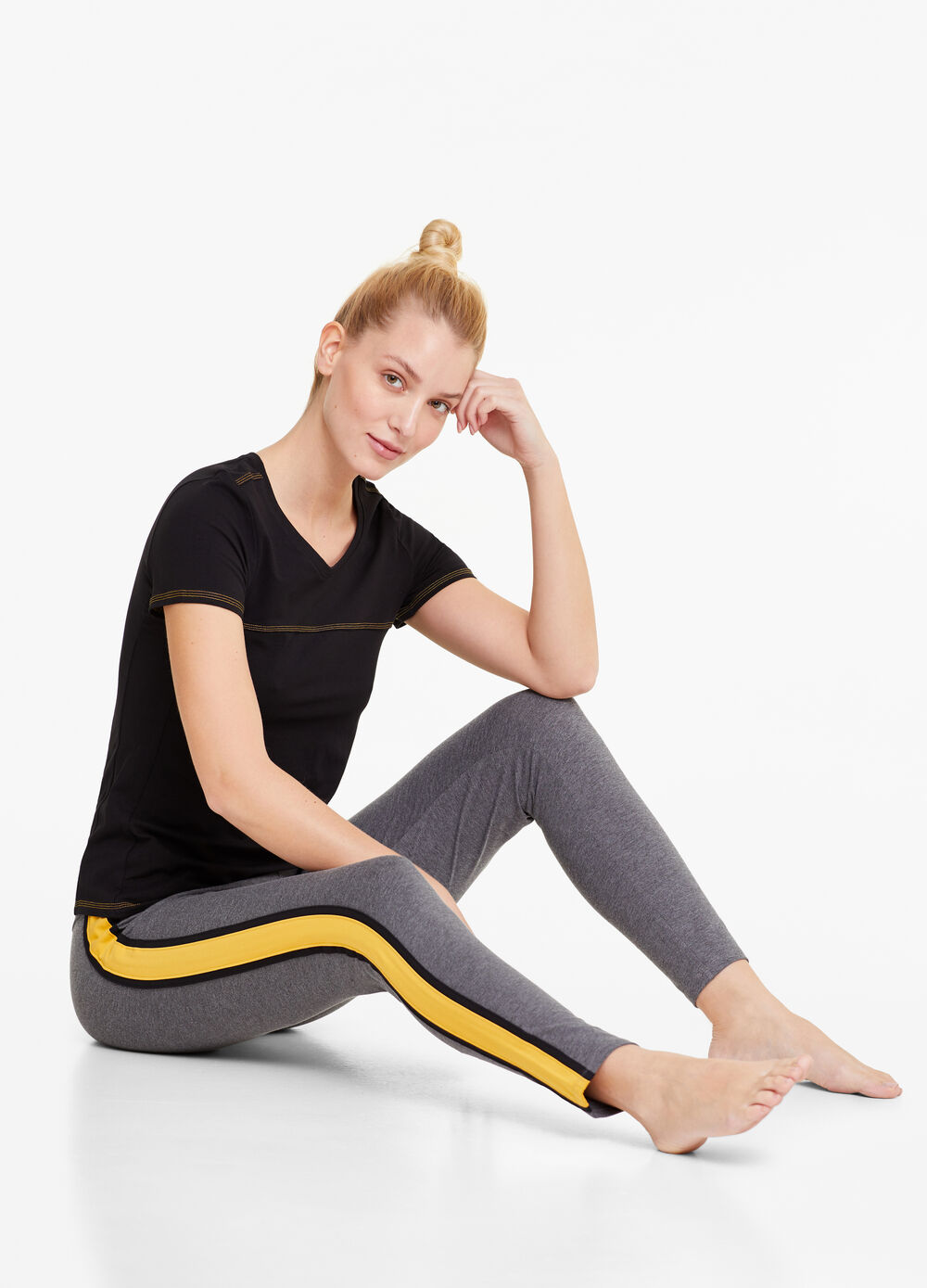 Stretch cotton gym leggings with bands