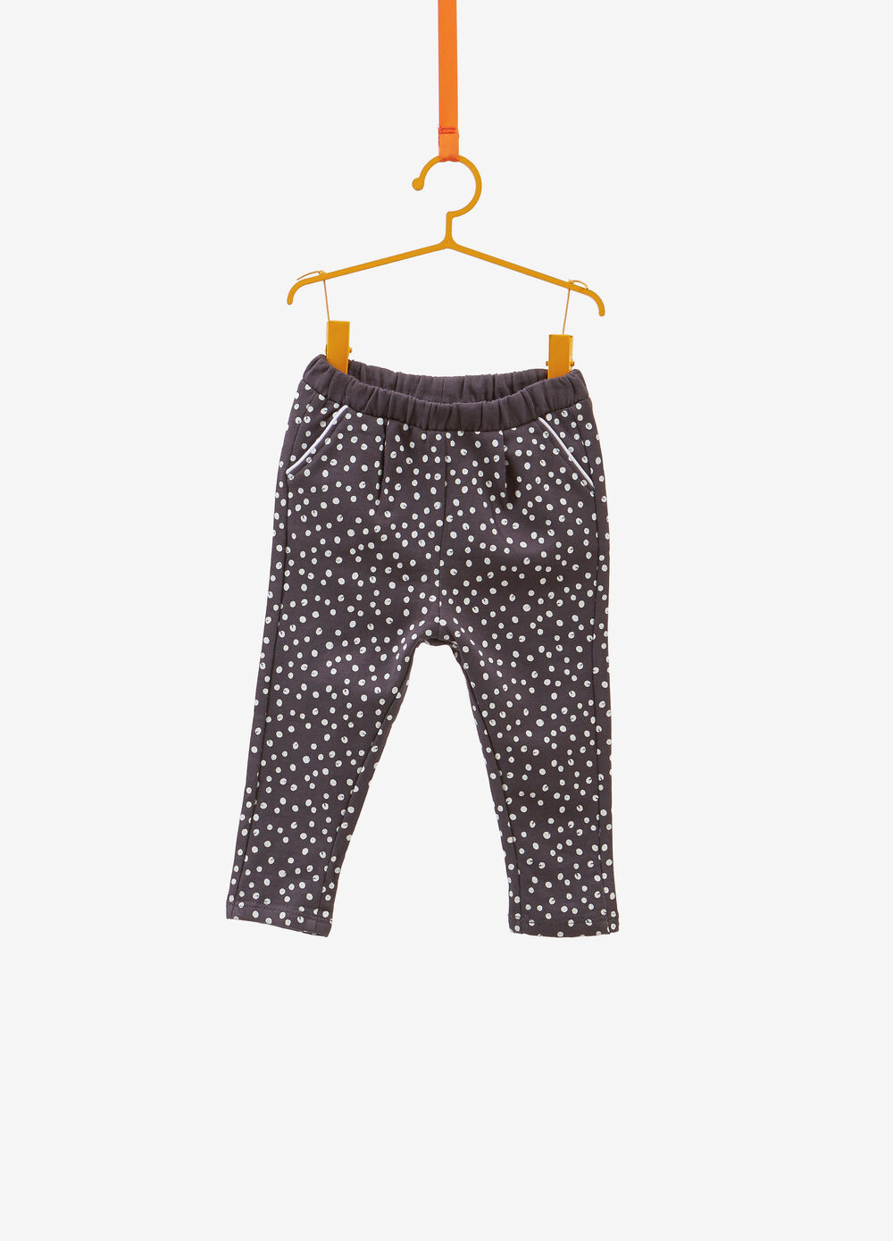 100% cotton trousers with polka dot pattern