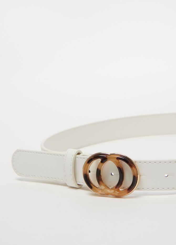 Low-rise belt with resin-effect double circle